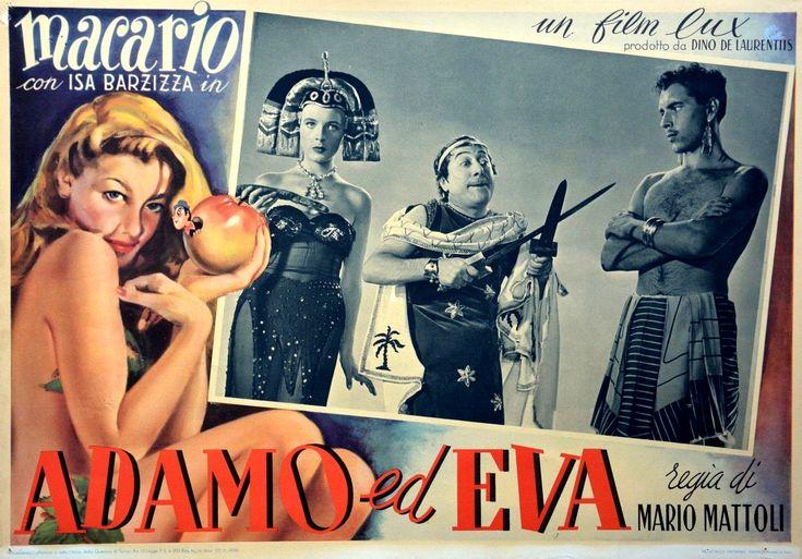 """Isa Barzizza and Macario (Erminio Macario, in the centre of the picture). Lobby card for Mario Mattoli's """"Adamo ed Eva"""" (English title: """"Adam and Eve"""", 1949)."""