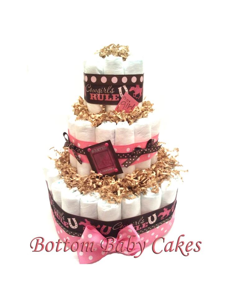 baby girl shower diaper cakes | Baby Girl Diaper Cake Baby Girl Gifts Shower Centerpiece Western Baby ...