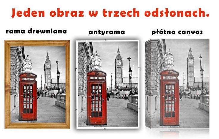 #Obrazy dostępne w trzech wariantach. W #ramie #drewnianej, w #antyramie, wydrukowane na #płótnie.