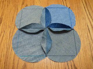 : Blue Jeans Baby Blanket Tutorial.. Good simple tutorial. I'm glad I have circle cutting dies.Jcv
