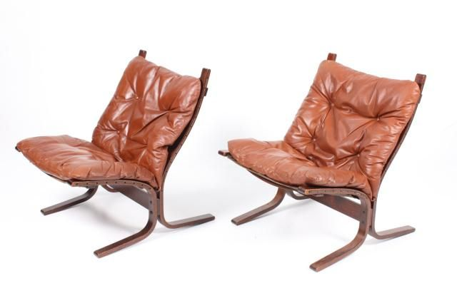 Norwegian Siesta Bentwood and Leather Lounge Chairs by Ingmar Relling for Westnofa, 1960s, Set of 2 for sale at Pamono