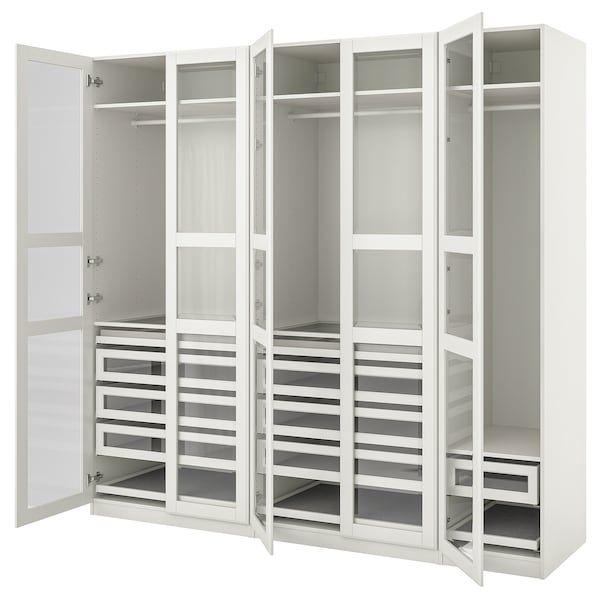 Pax Tyssedal Combinaison Armoire Blanc Blanc Verre 250x60x236