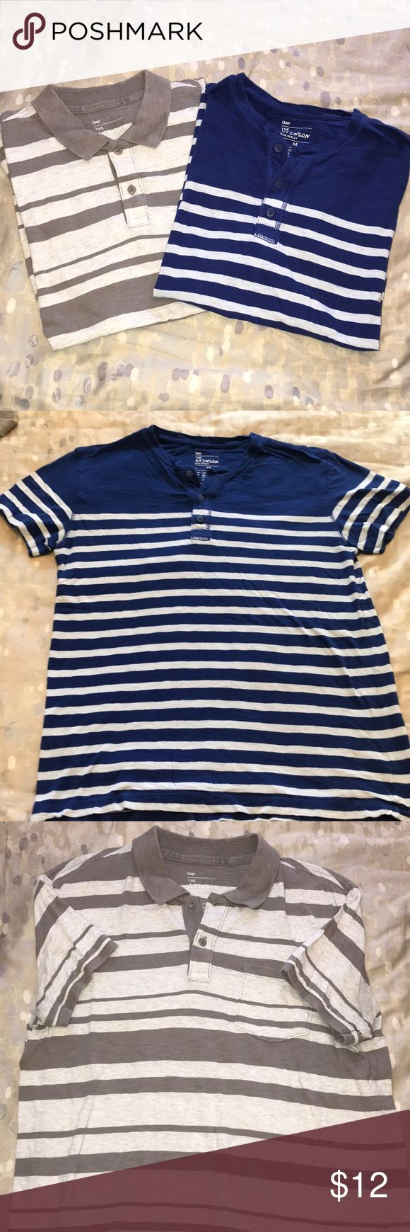 GAP Henley/ Polo Shirt Bundle (M) Both Size M, good condition. Blue Henley with buttons and white stripes. Light and Dark Grey striped polo with pocket, collar, and buttons. Very classy and comfortable. GAP Shirts Polos