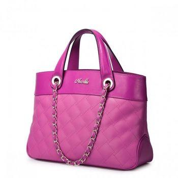 Damska torebka do ręki w kratkę Różowa - Nucelle