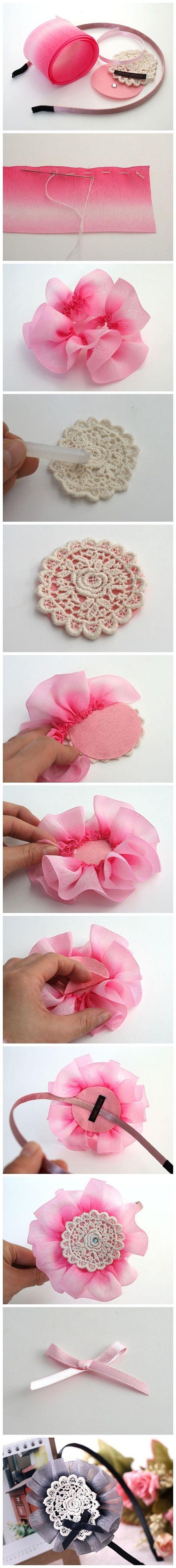 DIY Diadema con flor de tela