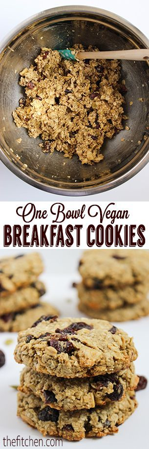 One Bowl Vegan Breakfast Cookies from The Fitchen   gluten free, soy free, dairy free, nut free, top 8 allergen free!