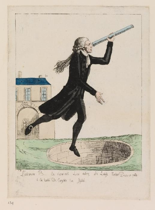Print of Bailly as an Astronomer Falling Down a Well, French, 1791 - Waddesdon Manor