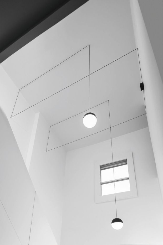 Beautiful composition. Space, light, line...  String Lights by Michael Anastassiades