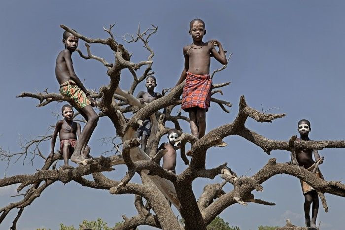 Ethiopia. Lookout in Omo Valley, Ethiopia. Some children play on a big old tree.