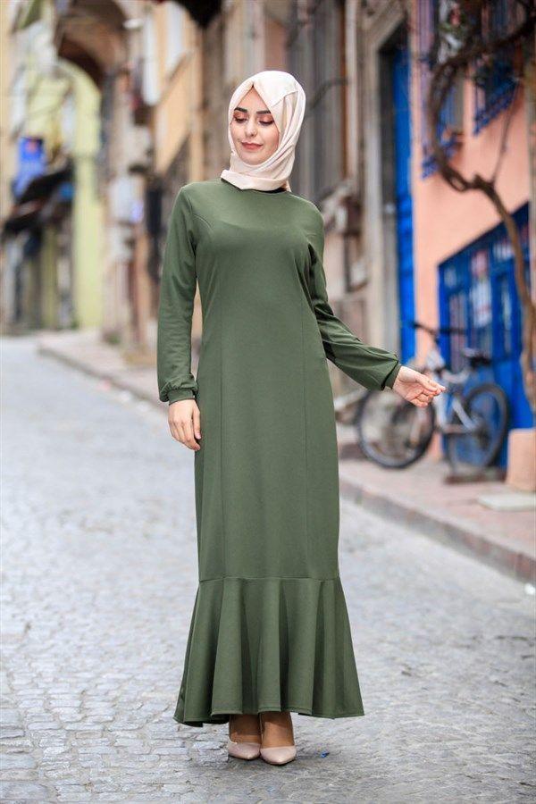 Etegi Volanli Uzun Tesettur Elbise 3018 Haki 103725 Elbise Elbise Modelleri Giyim