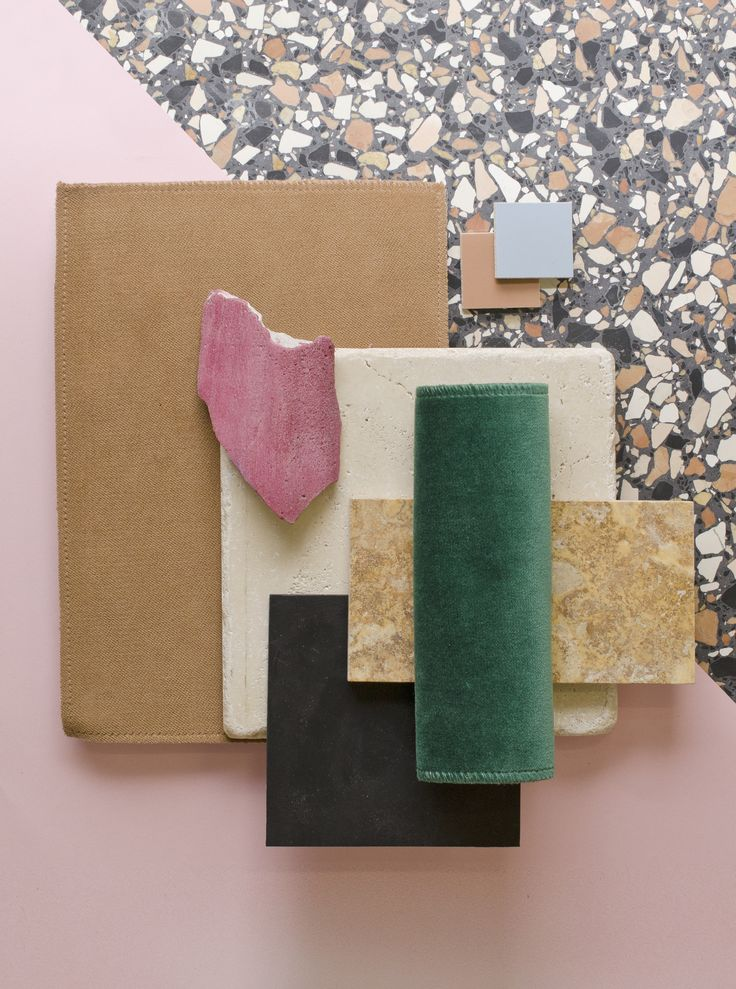 Weekly material mood 〰 Black and pink terrazo #terrazzo #travertine #linoleum #stone #stonecondk #pink #lightblue #brown #studiodavidthulstrup #interior #architecture #design #material #materialmood #moodboard