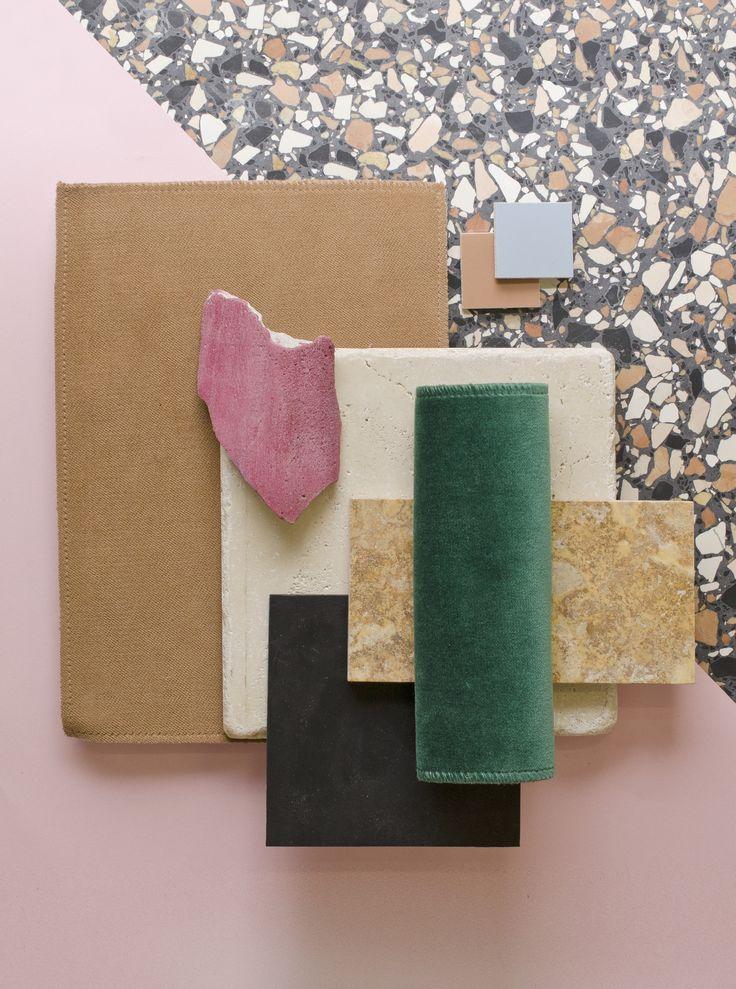 Weekly material mood 〰 Black and pink terrazo #terrazzo #travertine #linoleum… …                                                                                                                                                                                 Más