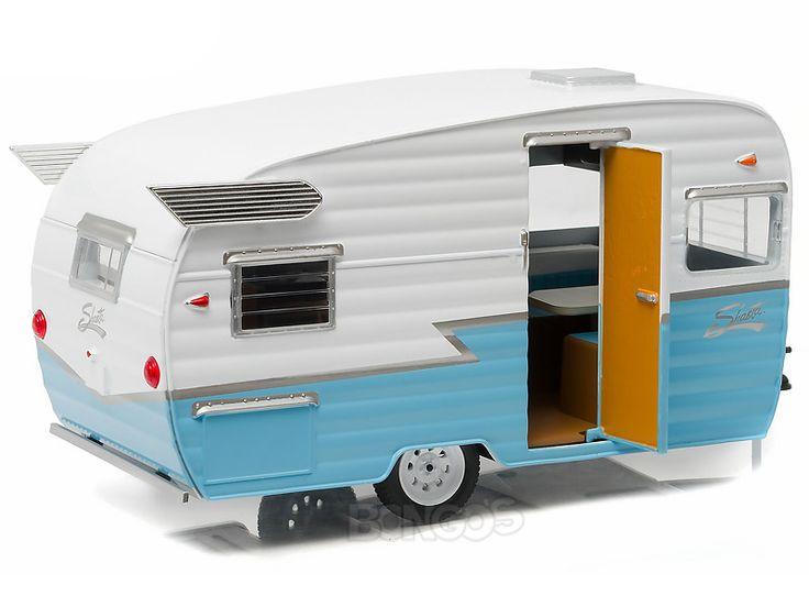"""Home :: Other Diecast :: Diecast Accessories :: Shasta 15' (5m) """"Airflyte"""" Caravan Trailer 1:24 Scale - Greenlight Diecast Model (Blue)"""