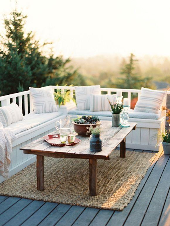 Fun back porch seating!