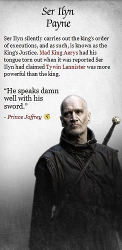 Ilyn Payne one of the people on Arya's list of who she wants dead, Ilyn executed her father on Joffres orders