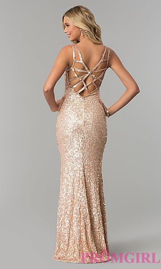 d7b52dccb7a5 Long Caged-Back Sequin Prom Dress by PromGirl