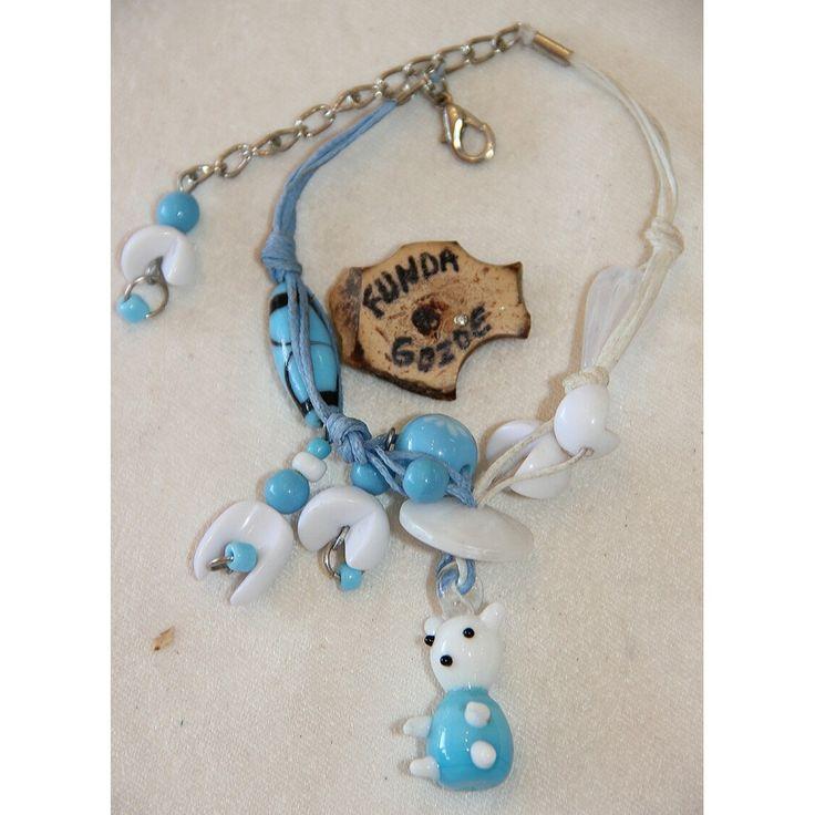 Mavi Beyaz Ayıcıklı Cam Boncuklu Bilezik 556 - n11.com