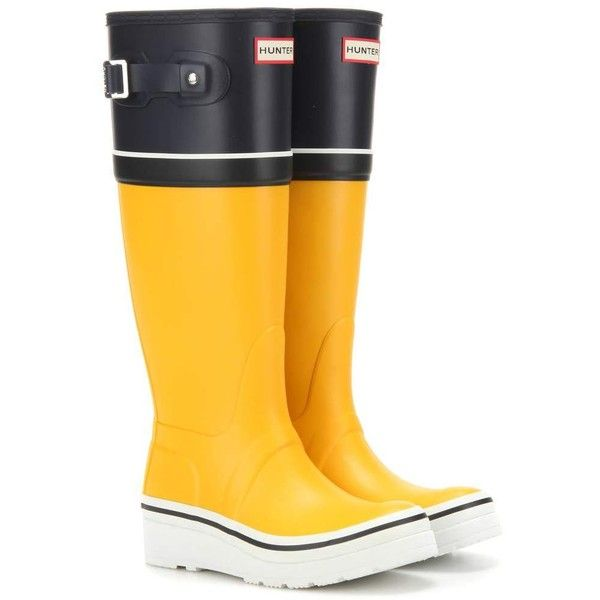 Hunter Original Tall Buoy Stripe Wedge Rubber Boots ($110) ❤ liked on Polyvore featuring shoes, boots, yellow, tall rubber boots, wedge heel boots, wellington boots, rain boots and yellow rubber boots