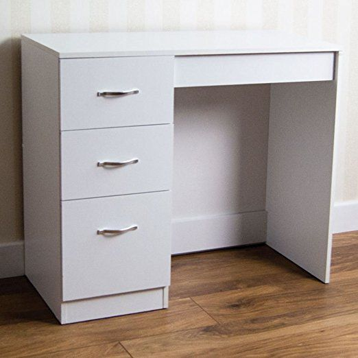 Home Discount White 3 Drawer Dressing Table Makeup Desk Riano Bedroom Furniture