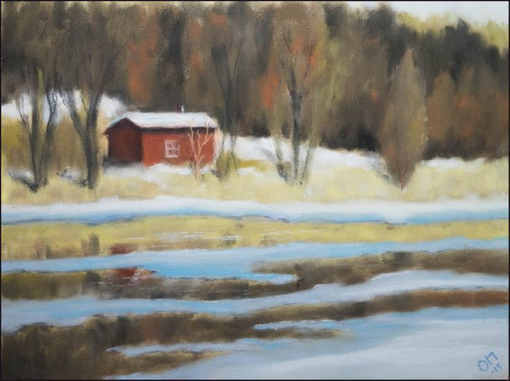 Shed by the water by Olli Malmivaara, Panpastel on Pastel Card 24 x 32 cm