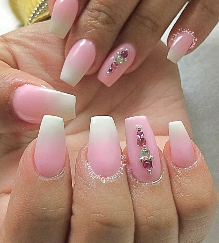 pink and white ombre nails - 736×818