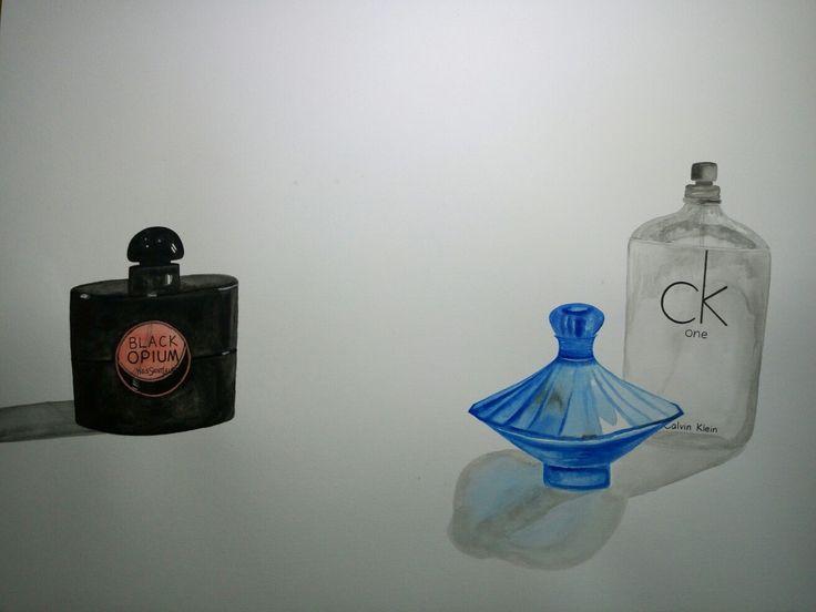 Watercolour drawing: perfume bottles. YSL, CK one...