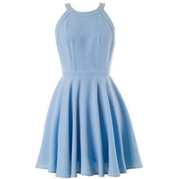 Light Blue Halter Open Back Skater Dress ❤ liked on Polyvore featuring dresses, open back halter dress, halter top, halter neck dress, halter-neck dresses and blue halter top
