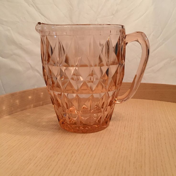 Depression Glass Jeannette Windsor Diamond Pitcher - Large Pink Glass Pitcher -  Vintage Diamond Cut  Depression Glass Vase by CLittleShop on Etsy