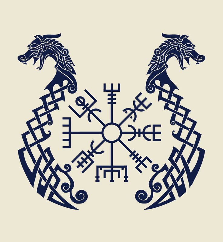 "Nordo-Celtic knot symbolizing the Drakkar longships paired with the central Icelandic Vegvisir (""sign post""), which is a type of late medieval bind-rune that was a magic sigil to prevent the bearer from getting ""lost in the storm"". The Vegvisir is often erroneously identified as a Viking-age rune."