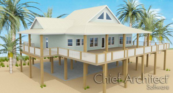 Knowledge decks and stairs on pinterest for Beach house plans with decks