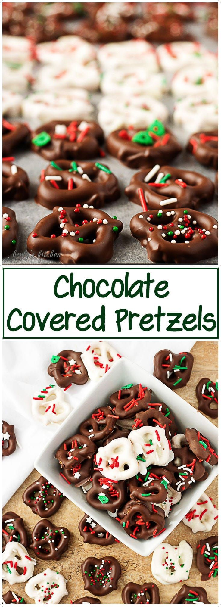 This holiday season, try our chocolate covered pretzels recipe. A salty, crunchy pretzel smothered in smooth chocolate and topped with colorful sprinkles! #candy #chocolate #Christmas #treats #pretzels  via @berlyskitchen