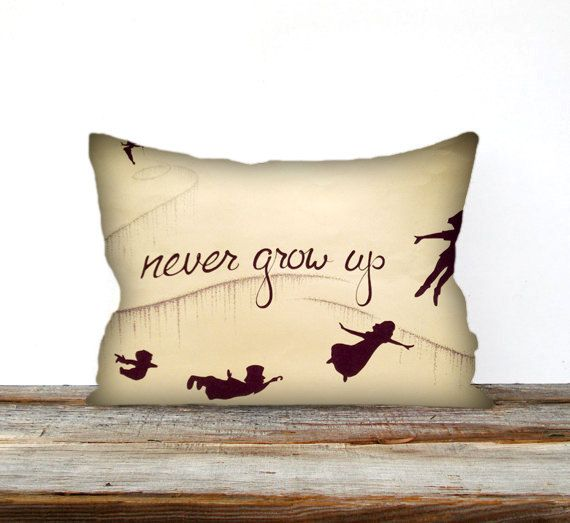 Peter Pan, Quote Never Grow Up, Pillow Decorative Throw Pillow Sham Cover Home Decor on Etsy, $15.20