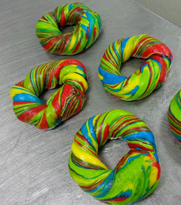 """Rainbow"" Bagel  Scot Rossillo ""Worlds Premier Bagel Artist""   #Smallbizlove #bagel #company #instalife #dailygrind #job #biz #thebagelstore #mygrind #dayjob #instadaily #grind #workinglate #instajob #business #working #work #ilovemyjob #instagood #tagsforlikes #myjob #bored #love #photooftheday #instagram #beautiful #motivation #brooklyn  #good #food"