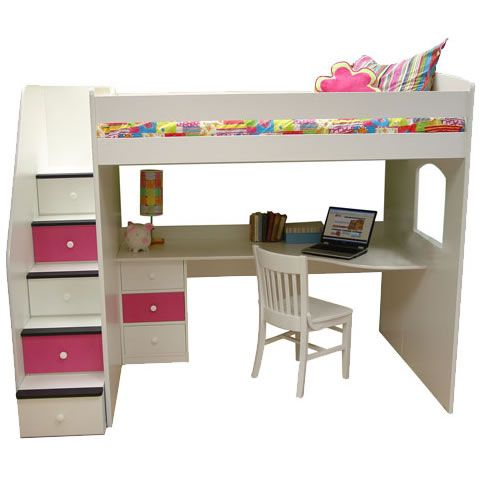 Teen girls loft bed with desk berg furniture utica full Full size loft beds with desk