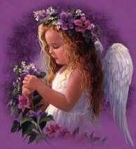 purple little angels | Little angel loving the flowers~