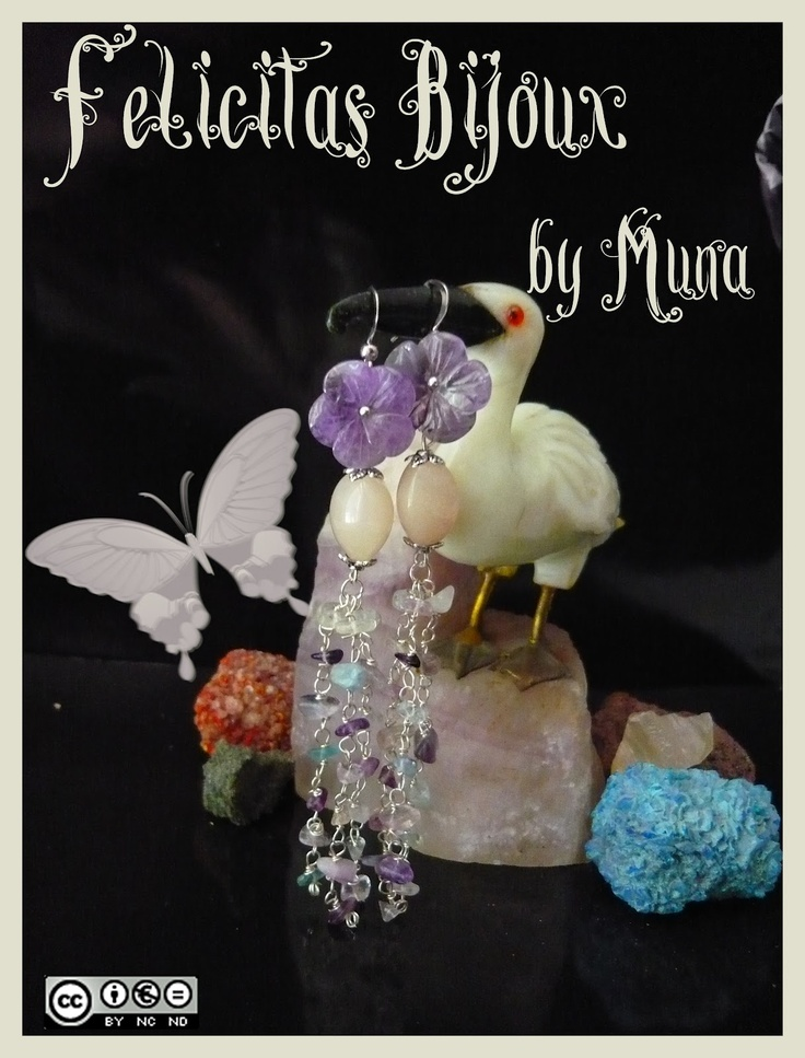 Amethyst flower-shaped 15 mm, beads of pink aventurine barrel-shaped 10 mm, chips of fluorspar, silver Tibetan elements.     The earrings Emy are 11 cm long!