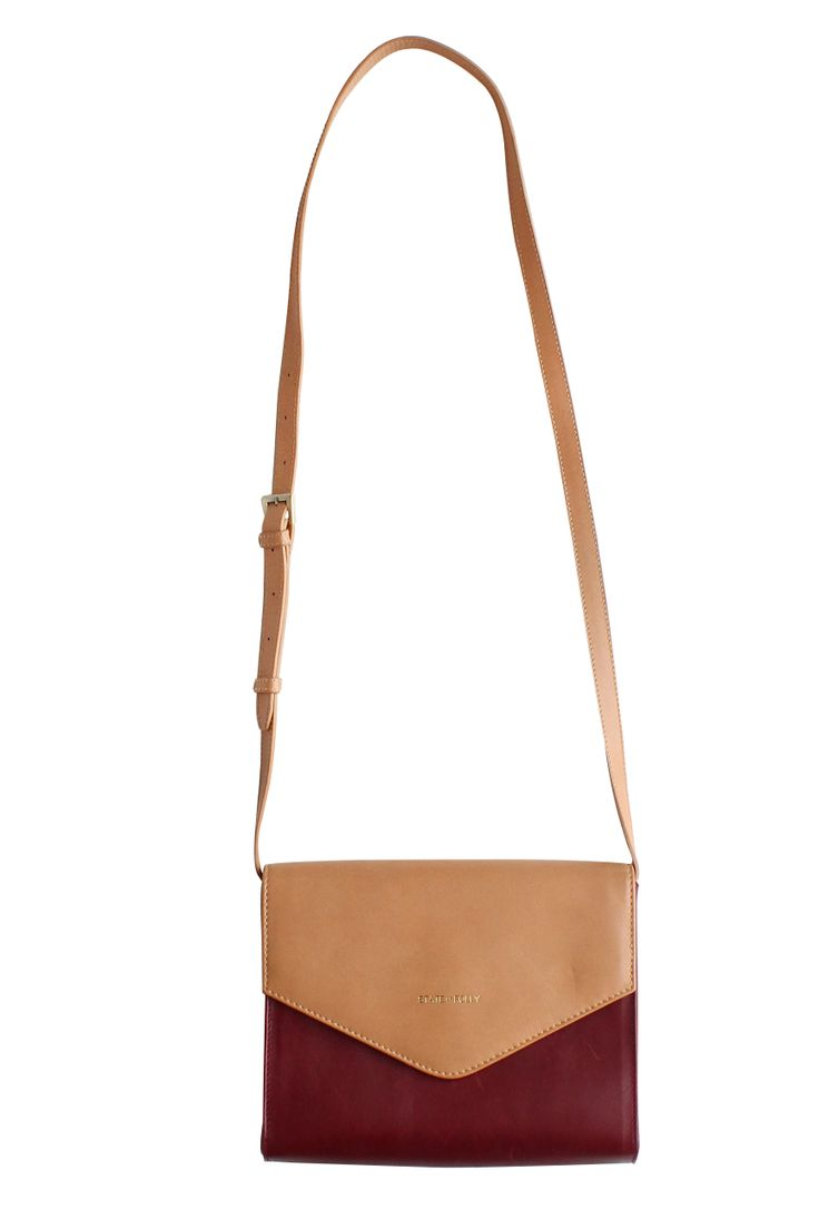 Triangle Beige Maroon Leather Clutch Purse