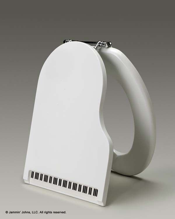 Jammin' Johns piano-shaped toilet seat in white glossy finish