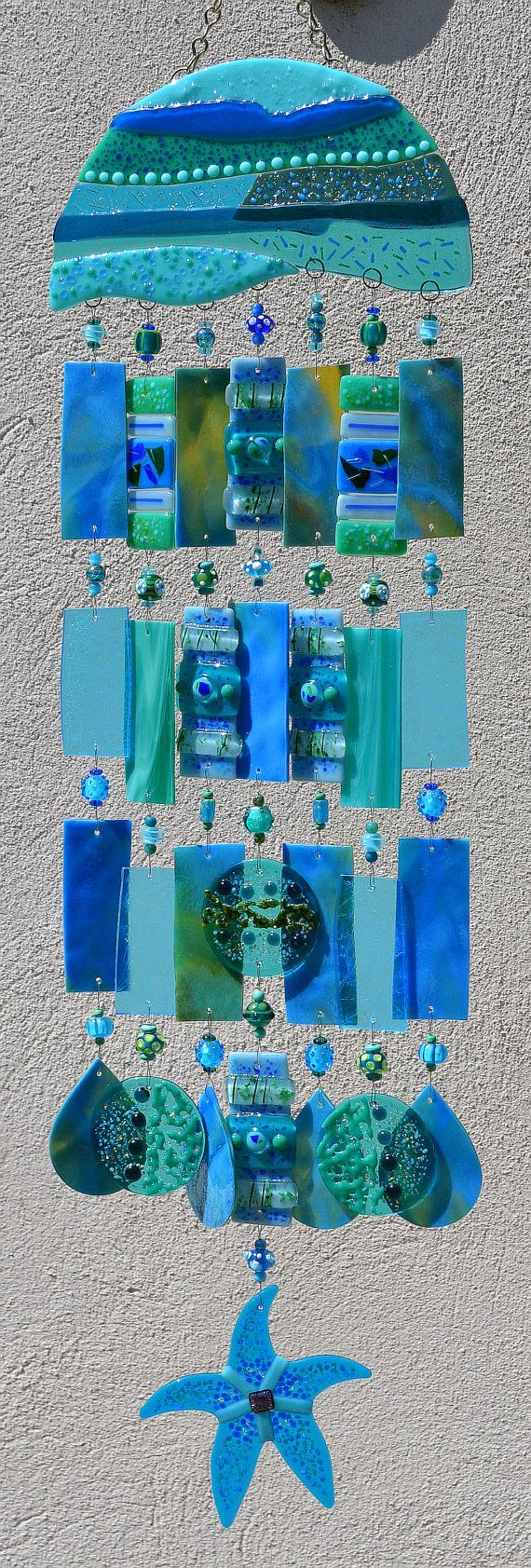 Kirks Glass Art Fused Stained Glass Wind Chime por kirksglassart