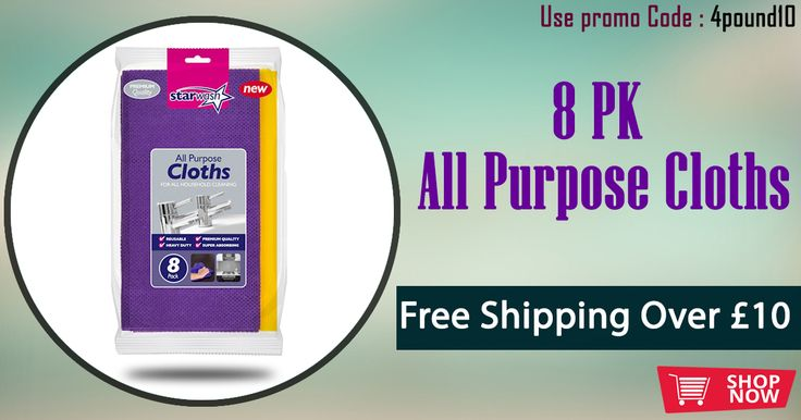 8 Pack All Purpose Cloths available at Low Cost #4Pound Shop Now : http://www.4pound.co.uk/8-pk-all-purpose-cloths