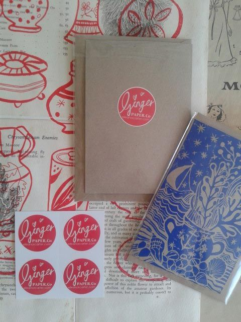 A new venture Ginger Paper Co. creating hand made paper goods, using printmaking methods such as lino and wood cut prints.