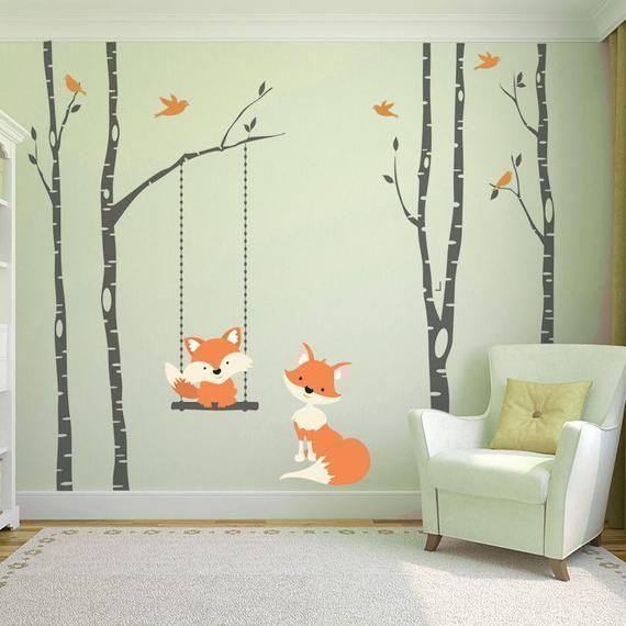 FOX Wall Decals 4 Trees Birch Nursery Vinyl Decor FOX Swinging from Branch Wall Decal Forest Woodland Birds Vinyl Baby Bedroom