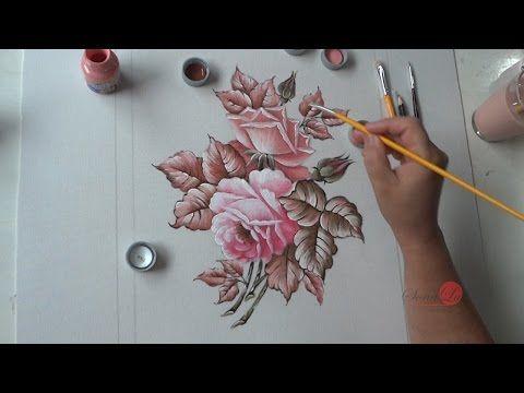 Pintura em Tecido Passo a Passo: Tapete emborrachado, pintado com Rosas em cores Análogas