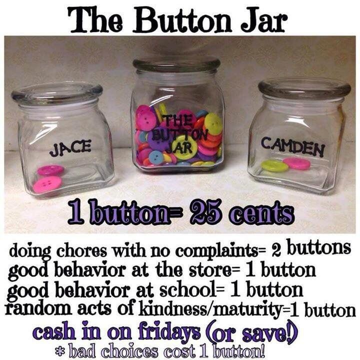 Cute idea for parents! Every good thing your kid does reward them with a button to their jar. At the end of each week they can get money or continue to save. Great money idea for young kids.