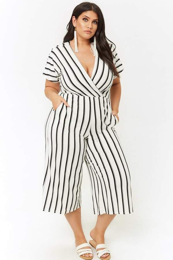 2350e7b2769132 Forever 21 Plus Size Striped Surplice Culotte Jumpsuit | Earned ...