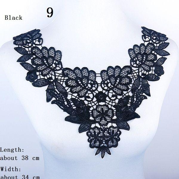 Sewing Off-white Black Flower Fabric Venise  Lace Neckline Collar Trim Applique