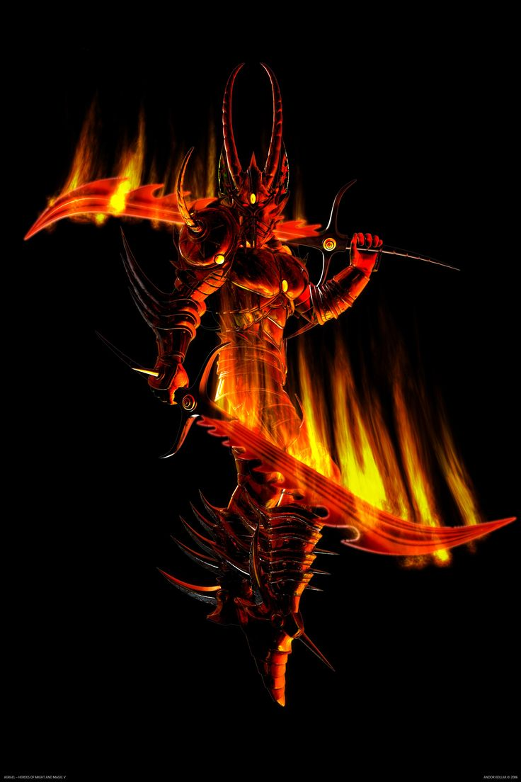 Agrael from Heroes of Might and Magic V, demon lord with red flaming swords