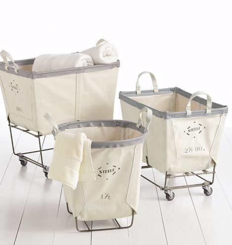 Steel and canvas laundry baskets from Rejuvenation - very cool and on sale right now...I can't buy another thing that would need to be stored till we move in the house so these will have to wait.