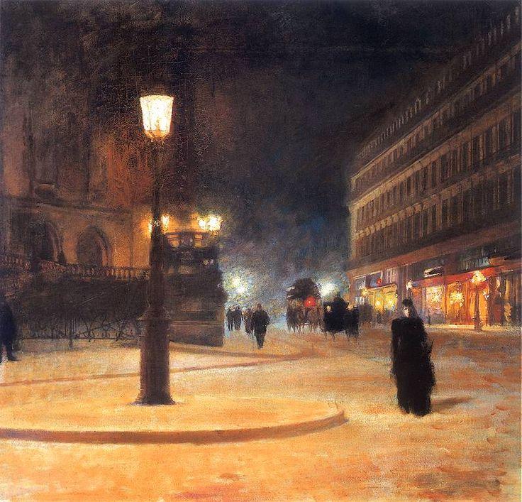Square Opera House in Paris (Paris Opera at night, Paris at night) - Ludwik de Laveaux 1892-1893.Polish 1868-1894Oil on canvas. 75 x 84 cm. National Museum, Warsaw.