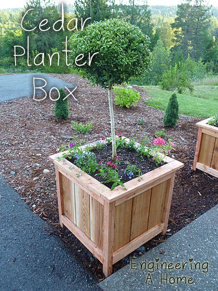 Wooden Garden Planters Ideas how to make a cedar and pine planter on the cheap Pretty Front Porch Diy Large Cedar Planter Boxes